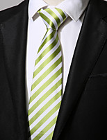 cheap -Men's Polyester Necktie, Vintage Casual Striped All Seasons Green