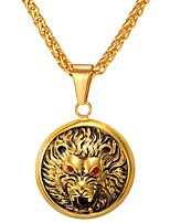 cheap -Men's Wolf Animals Cool Pendant Necklace , Stainless Steel Pendant Necklace , Daily Street