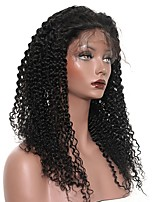 cheap -Human Hair Lace Front Wig Wig Peruvian Hair Kinky Curly With Baby Hair 120% Density Natural Hairline Short / Medium Length / Long Human Hair Lace Wig