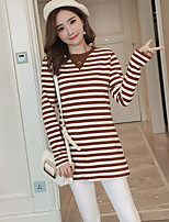 cheap -Women's Others Street chic Autumn T-shirt,Striped V Neck Long Sleeves Cotton