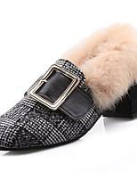 preiswerte -Damen Schuhe PU Frühling Komfort High Heels Blockabsatz Runde Zehe für Normal Schwarz Braun