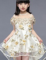 cheap -Girl's Birthday Floral Dress,Polyester Summer Short Sleeves Vintage Gold