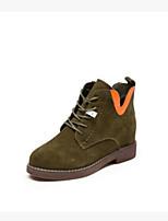 Недорогие -Для женщин Обувь Полиуретан Зима Осень Удобная обувь Ботинки На толстом каблуке Закрытый мыс Ботинки для Повседневные Черный Зеленый