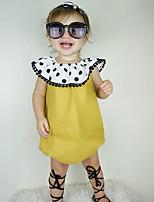 Недорогие -малыш Девочки 1 предмет Повседневные Хлопок Лён Бамбуковая ткань Акрил Однотонный Весна Длинный рукав Простой Желтый