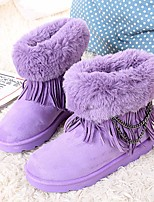 cheap -Women's Shoes Nubuck leather Winter Fall Comfort Snow Boots Boots Creepers Booties/Ankle Boots for Casual Black Purple Red