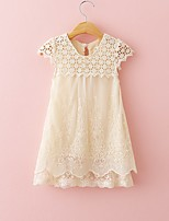 cheap -Girl's Daily Solid Dress, Cotton Summer Sleeveless Vintage Beige