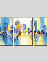 Недорогие -Ручная роспись Абстракция Вертикальная панорама, Modern Hang-роспись маслом Украшение дома 3 панели