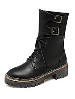 cheap -Women's Shoes PU Winter Fall Comfort Novelty Combat Boots Boots Low Heel Round Toe Booties/Ankle Boots Mid-Calf Boots Buckle for Office &