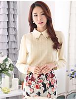 Недорогие -Для женщин На каждый день Блуза Рубашечный воротник,Уличный стиль Однотонный Длинный рукав,Полиэстер