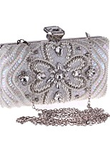 cheap -Women Bags PU Polyester Evening Bag Buttons Crystal Detailing for Wedding Event/Party All Season Black White