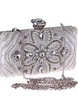 preiswerte -Damen Taschen PU Polyester Abendtasche Knöpfe Kristall Verzierung für Hochzeit Veranstaltung / Fest Alle Jahreszeiten Weiß Schwarz