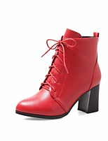 cheap -Women's Shoes PU Winter Fall Comfort Combat Boots Boots Chunky Heel Booties/Ankle Boots for Casual Black Red Green