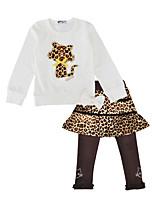 Недорогие -Девочки Набор одежды Повседневные Праздники Хлопок Леопард Весна Осень Длинные рукава Очаровательный Белый