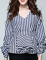 cheap -Women's Going out Vintage Fall Shirt,Striped V Neck Long Sleeve Cotton Opaque