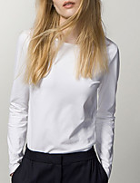 cheap -Women's Daily Casual T-shirt,Solid Round Neck Long Sleeve Cotton Others