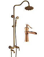cheap -Antique Centerset Handshower Included Ceramic Valve Single Handle Two Holes Antique Copper, Bathroom Sink Faucet