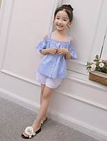 cheap -Girls' Daily Solid Clothing Set, Wool Cotton Bamboo Fiber Spring Half Sleeves Casual Blue