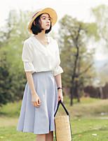 Недорогие -Для женщин На каждый день Блуза V-образный вырез,Уличный стиль Однотонный Хлопок