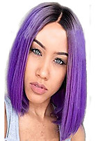 cheap -Women Synthetic Wig Side Part Ombre Black/Purple Straight BOBO Hair Natural Wig.