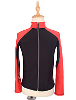 cheap -Figure Skating Fleece Jacket Women's Girls' Ice Skating Top Red Spandex Stretchy Performance Practise Skating Wear Solid Long Sleeves Ice