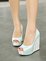 cheap -Women's Shoes PU Summer Basic Pump Heels Wedge Heel Peep Toe for Casual White Blue