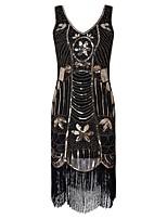 preiswerte -20er Gatsby Kostüm Damen Flapper Kleid Schwarz Vintage Cosplay Polyester Kurzarm Kappe