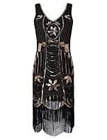 abordables -Années 20 Gatsby Costume Femme Robe à clapet Noir Vintage Cosplay Polyester Manches Courtes Mancheron