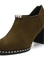 Недорогие -Для женщин Обувь Полиуретан Зима Удобная обувь Ботильоны Ботинки На толстом каблуке Заостренный носок Ботинки для Повседневные Черный