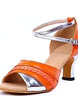 "cheap -Women's Latin Leatherette Sandal Indoor Chunky Heel Orange 2"" - 2 3/4"" Customizable"