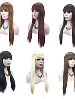 cheap -6 Color Available Natural Looking Long Straight Capless Wig Cosplay Play Party Wig or Daily Using Black Brown Red Hairstyle with Bang High Quality