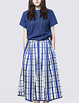 cheap -Women's Daily Casual All Seasons Set Skirt Suits,Striped Print Crew Neck Half Sleeve Polyester Stretchy