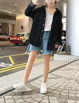 cheap -Women's Daily Casual Fall Shirt,Solid Shirt Collar Long Sleeve Polyester Opaque