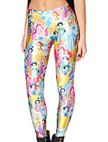 cheap -Women's Retro Cotton Opaque Print Legging,Print White