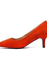 preiswerte -Damen Schuhe PU Frühling Komfort High Heels Stöckelabsatz Spitze Zehe Geschlossene Spitze für Normal Schwarz Rot