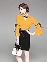 Недорогие -На выход Весна Осень Блуза Юбки Костюмы V-образный вырез,Секси Однотонный Длинные рукава,Полиэстер Неэластичная