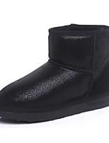 baratos -Mulheres Sapatos Pele Real Inverno Outono Botas de Neve Conforto Botas Sem Salto Botas Curtas / Ankle para Casual Preto Prata Marron