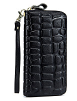 cheap -Women's Bags Cowhide Wallet Zipper for Event/Party Office & Career All Seasons Wine Light Purple Dark Blue Black Gold