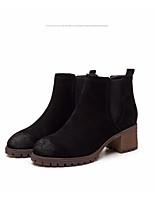Недорогие -Жен. Обувь Замша Зима Осень Удобная обувь Ботильоны Ботинки На толстом каблуке Ботинки для Повседневные Черный Верблюжий Хаки