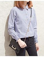 Недорогие -Для женщин На каждый день Рубашка Рубашечный воротник,Уличный стиль Шахматка Длинный рукав,Хлопок