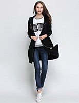 cheap -MISSGIRL Women's Daily Going out Street chic Winter Spring Trench Coat,Letter Hooded Long Sleeve Long Cotton Spandex Embroidered