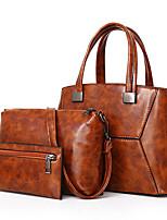 preiswerte -Damen Taschen PU Bag Set 3 Stück Geldbörse Set Reißverschluss für Einkauf Normal Ganzjährig Blau Schwarz Rote Grau Braun