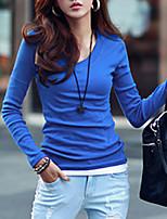 abordables -Tee-shirt Femme,Couleur Pleine Quotidien Décontracté Printemps Manches longues Col en V Coton Opaque