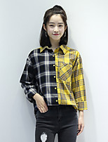 cheap -Women's Casual/Daily Street chic Shirt,Check Shirt Collar Long Sleeves Cotton