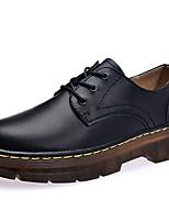 preiswerte -Damen Schuhe Leder Frühling Sommer Komfort Outdoor Flacher Absatz Mittelhohe Stiefel für Normal Kleid Schwarz Wein