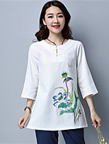 cheap -Women's Going out Vintage Autumn/Fall T-shirt,Embroidery Round Neck ¾ Sleeve Cotton Medium