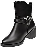 Недорогие -Для женщин Обувь Полиуретан Зима Удобная обувь Армейские ботинки Ботинки На плоской подошве Круглый носок Сапоги до середины икры для