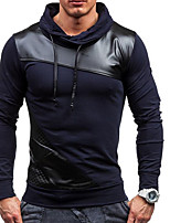 cheap -Men's Daily Hoodie Solid Hooded Micro-elastic Polyester Long Sleeve Spring