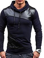 abordables -Homme Quotidien Couleur Pleine Capuche Micro-élastique Polyester Manches longues Printemps