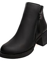 Недорогие -Жен. Обувь Резина Зима Осень Армейские ботинки Ботинки На плоской подошве Круглый носок для Черный Красный