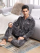 abordables -Costumes Pyjamas Homme,Fleur Epais Polyester Marine Gris